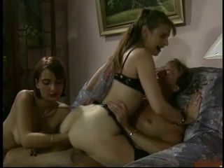 Euro threesome - cock in pussy fist in asshole