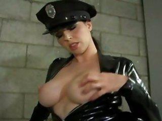 Horny officer Anastasia Pierce pops her awesome chestbombs ready for action