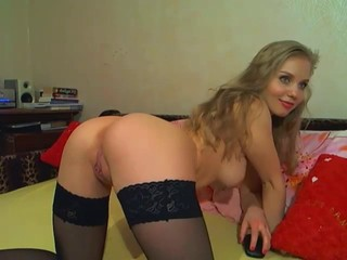 Amazing Blonde Natural Pussy Shaved Stockings Teen