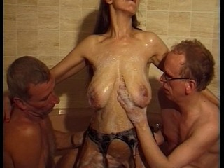 Bathroom German Mature  Stockings Threesome