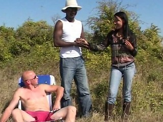 Cute Interracial Outdoor Teen Threesome