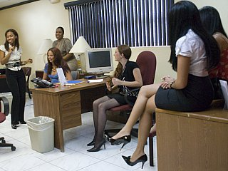 Office chicks getting dirty with...