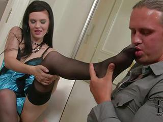 Young Brunette Timea Bela In Black Stockings Shows Off Her Perfect Sle...