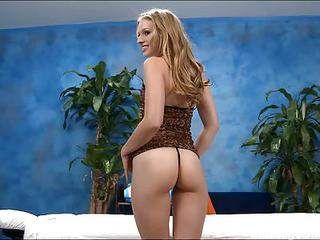 Leggy Massage Girl Avril With Long Blond Hair Shows Her Naughty Parts...