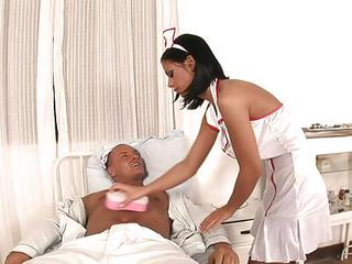 Sexy Nurse Black Angelica Cures Her Patient's Hard Cock