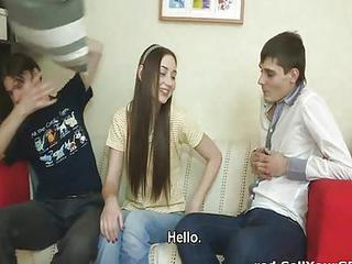 Russian Guy Watches His Girlfriend Getting Reamed