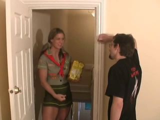 girl guide jerks cock with he...