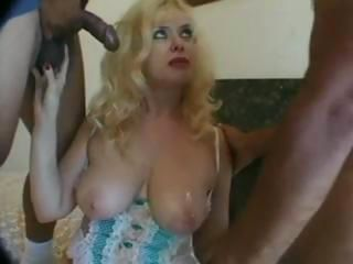 Two guys take advantage of a MILF and double team her ass