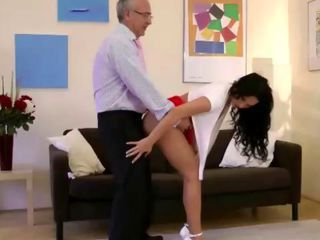Classy british brunette licks a seniors cock clean after riding it