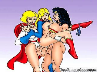 Famous cartoon superheroes orgy