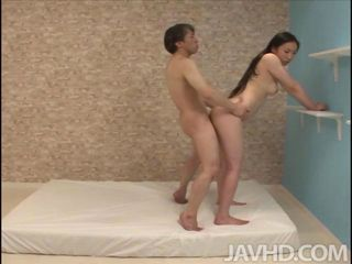 Horny Yuuka Tsubasa and a friend practice a variety of sexual positions on the bed