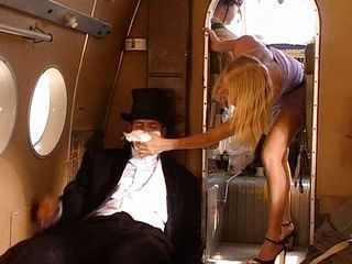 Hot blonde fucks in airplane