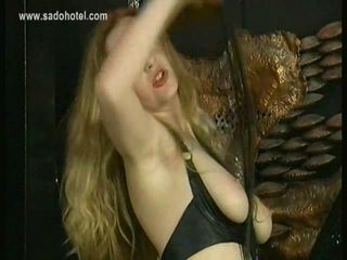 Hot slave with beautiful body hits herself on her ass with a whip bdsm