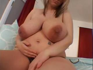 Pregnant blonde with huge tits gets horny and uses a dildo