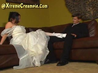 Creampie eating cuckold threesome on wedding night
