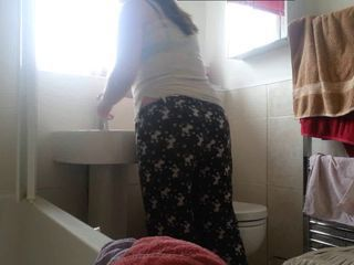 Girl on toilet and getting changed