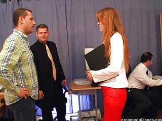 Gangbang Glasses  Office Pornstar Redhead Secretary