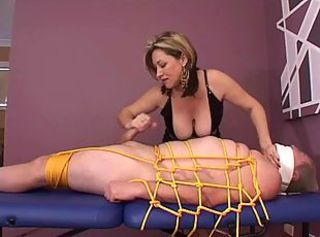 Dominating Wife gagged her hubby handjob