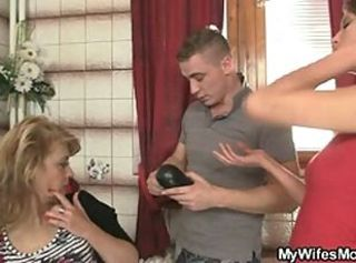 His wife comes out and he bangs her mom _: grannies matures old+young