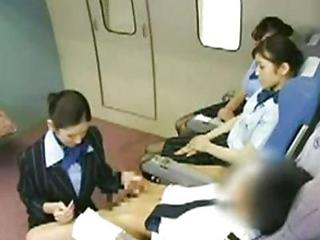 Asian Stewardess Banging The Cap...