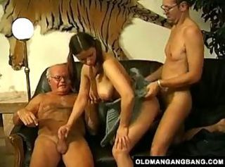 Big Tits Hardcore Old and Young Pigtail Teen Threesome