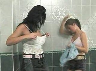 Bathroom cleaning turned for these horny girls and their guy into mad fucking