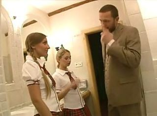 Cute Pigtail Skirt Student Teen Threesome Toilet
