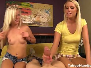 Amazing Blonde Handjob Pov Small Tits Teen Threesome