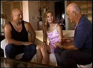 Skinny Kyla Swallows Fucked By Ron And His Two Old Buds