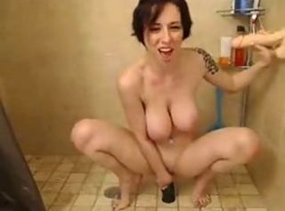 Under shower with big dildos (Camaster)