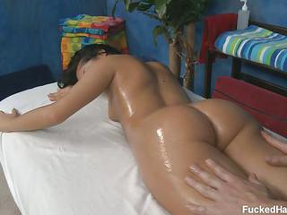 Raven Haired Babe In White Bettina Strips Naked For The Massage Of Lifetime. Fully Nude Oiled Up Girl Gets Her Juicy Big Wet Ass Rubbed By Hot Masseur!