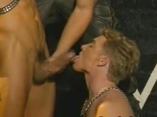 Muscled Men Threesome Blowjob