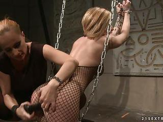 Katy Borman Chained Blonde Drill With Dildo In The Ass