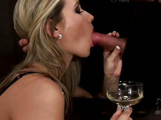 Elegant Babe Cherry Jul In Shirt Black Dress And High Heels Sucks Waiters Juicy Cock And Drink Champagne At The Same Time. Amazing Blowjob!