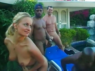 Blonde Cute Gangbang Interracial  Outdoor