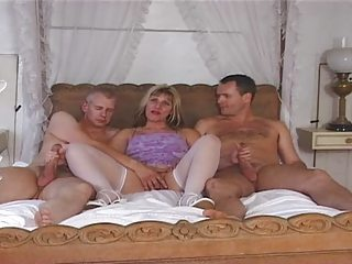 British European Handjob  Stockings Threesome