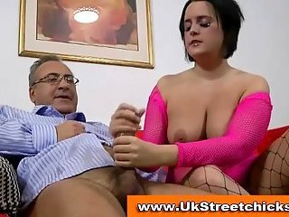 Big titted brunette fucked by old man