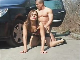 Babe Car Cute Doggystyle Hardcore Outdoor Stockings