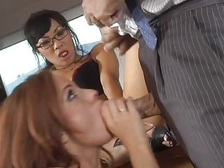 Asian Blowjob Glasses Interracial  Threesome