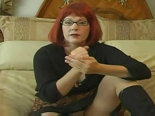 Glasses are sexy red hairy mother