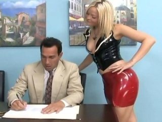 Babe Blonde Latex Office