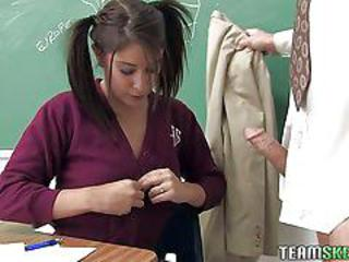 Pigtailed schoolgirl abby lane with pierced