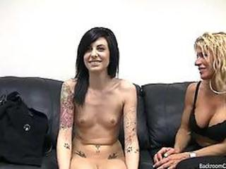 Casting Cute Goth Tattoo Teen Threesome
