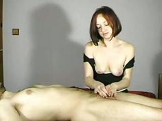She wanks her man and gets her tits out too!