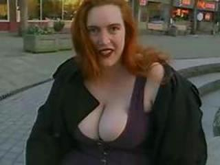 Big Tits  Natural Outdoor Public Redhead