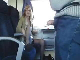 Public Sex in the train with busty