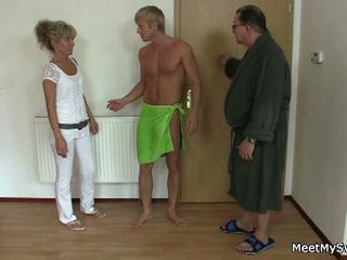 Horny mom and dad fuck son's hot blonde girl