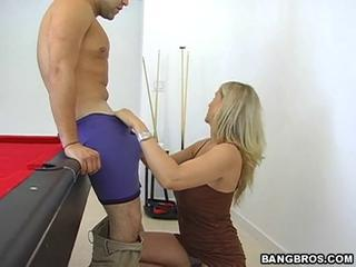 Excellent wet blowjob as Julia Ann slurps down a long one until he cums