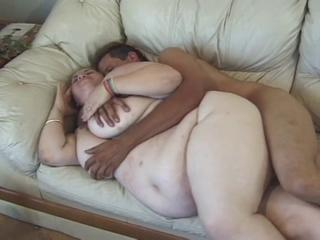 Blonde fat slut fucked by a young dick on the coach