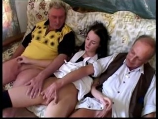 Daddy Daughter Family Handjob Old and Young Teen Threesome